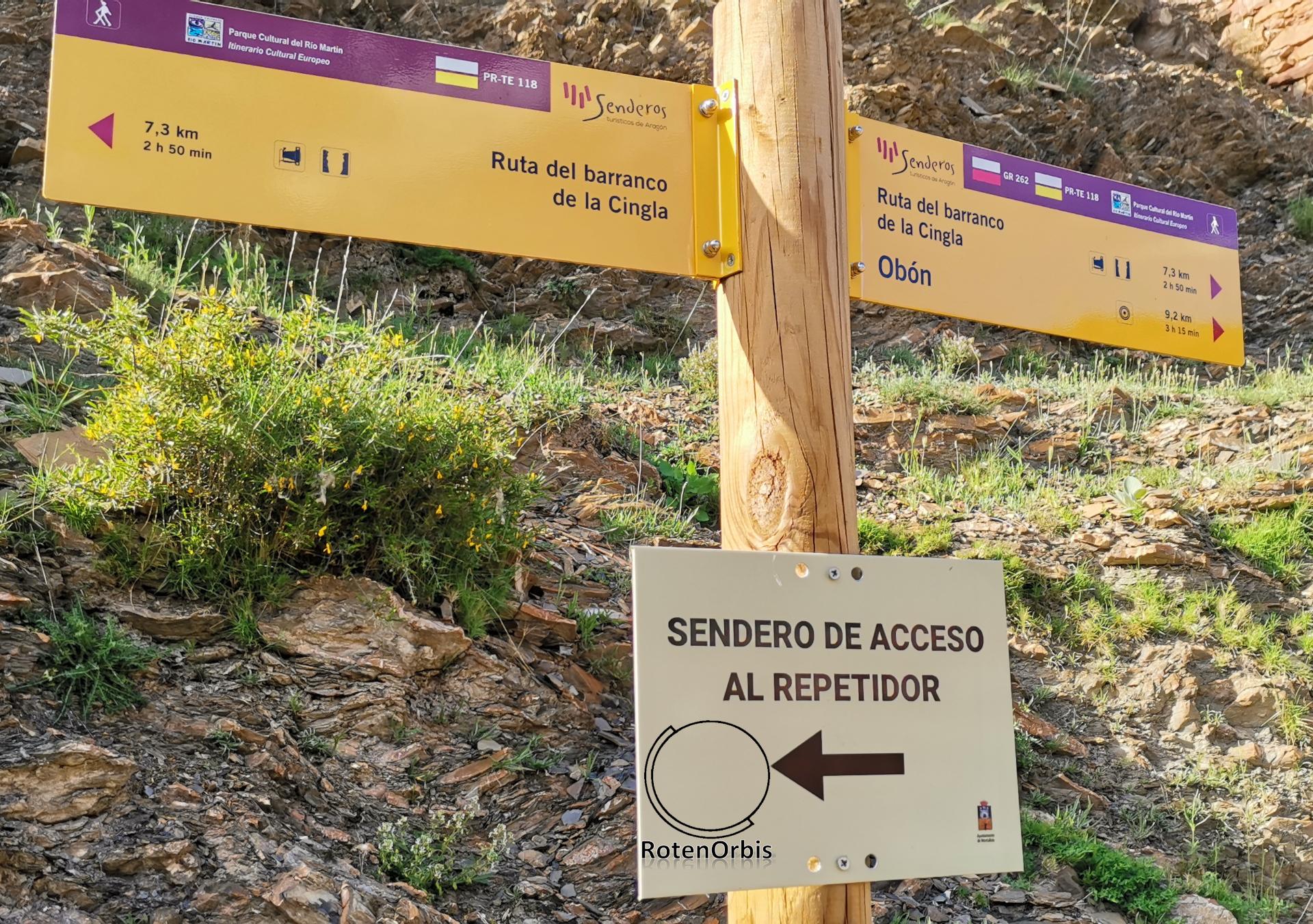 Cartel de la ruta del barranco de la Cingla